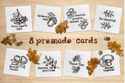 8 hand drawn fall cards with text