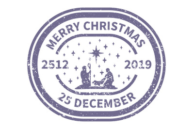 Christmas blue Postal Stamp.