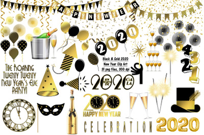 New Year Black and gold 2020 Clip Art