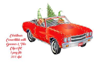 Christmas Car with Gnomes Clip Art