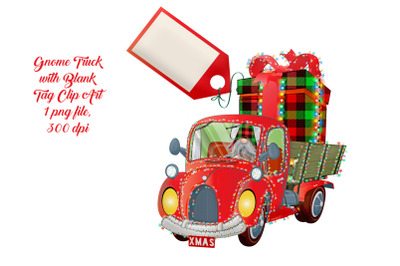 Christmas Gnome Truck with Blank Tag Clip Art