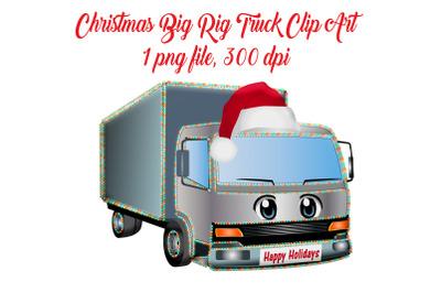 Christmas Big Rig Truck Clip Art