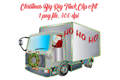 Christmas Big Rig Truck Clip Art with Santa