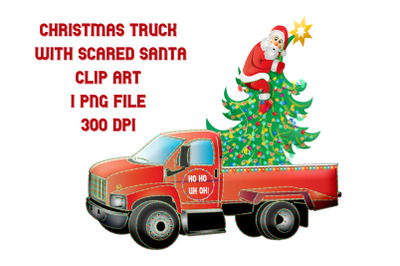 Christmas Red Truck with Scared Santa