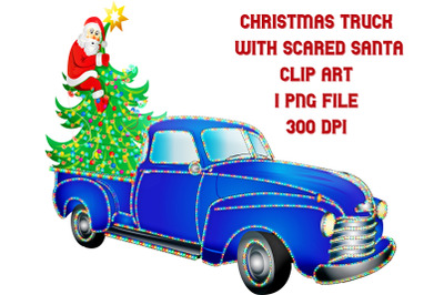 Christmas Blue Truck with Frightened Santa Claus