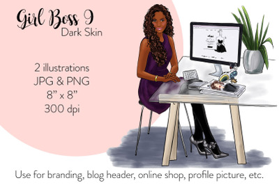 Watercolor Fashion Illustration - Girl boss 9 - Dark Skin
