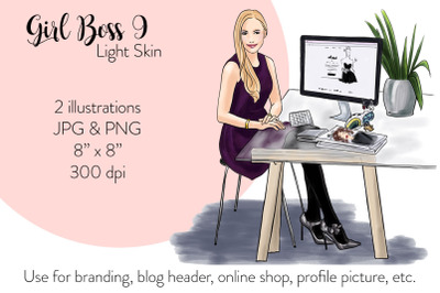 Watercolor Fashion Illustration - Girl boss 9 - Light Skin