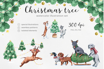 Watercolor christmas illustrations. Dogs Christmas.