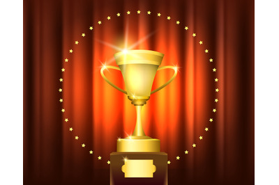 Golden Trophy Cup Award in circle of stars on red curtain. Winner cere
