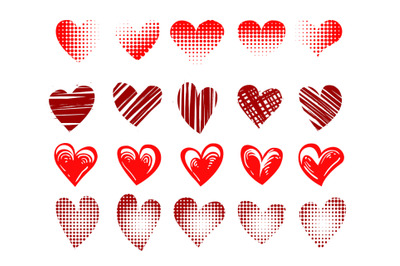 Set of Red hearts emblem Drawn in different styles isolated on white.