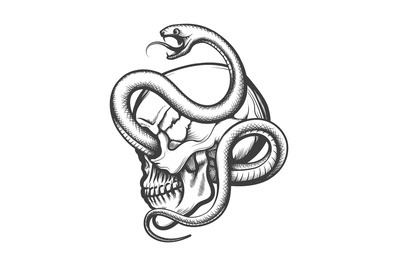Tattoo of Human Skull in side view Entwined By Snake drawn in Engravin