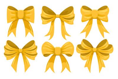 Cartoon Gold Bow Set. Vector illustration.