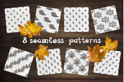 8 hand drawn seamless patterns with leaves