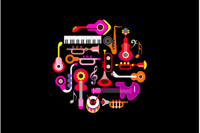 Musical Instruments round shape vector design