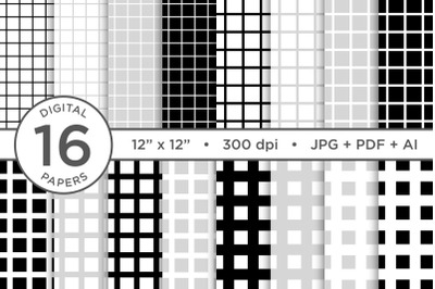 Black & White Seamless Grid Digital Paper