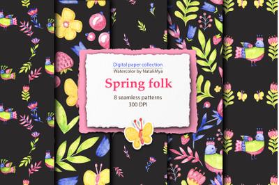 Watercolor black folk digital papers