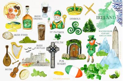 Ireland. Watercolor map