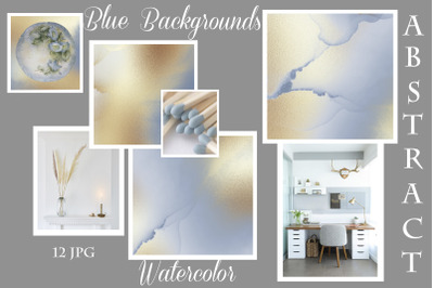 Blue Gold Watercolor Background
