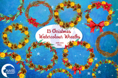 Christmas Wreaths, Watercolour Christmas Wreaths