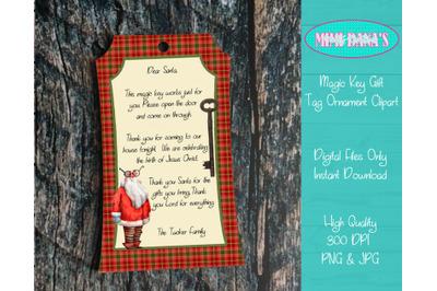 Magic Key Gift Tag Ornament Clipart