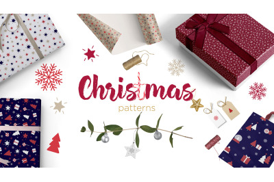 Christmas and new year seamless repeating patterns