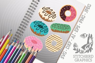 Donut Bundle 1 SVG, Silhouette Studio, Cricut, Eps, Dxf, AI