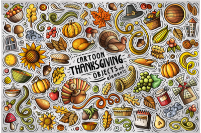 Thanksgiving Cartoon Objects Set