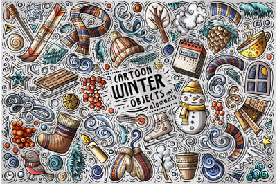 Winter Season Cartoon Objects Set