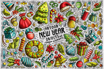 New Year Cartoon Objects Set