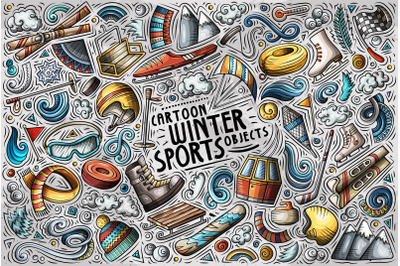 Winter Sports Cartoon Objects Set