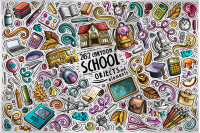 School Cartoon Objects Set