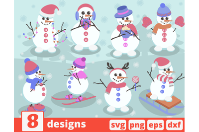 Snowmen SVG bundle | Christmas | Snowman clipart | New year | Winter