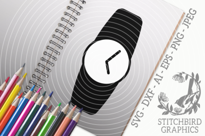Wrist Watch SVG, Silhouette Studio, Cricut, Eps, Dxf, AI, PNG, JPEG