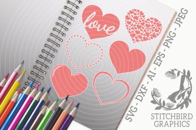 Love Hearts 1 SVG, Silhouette Studio, Cricut, Eps, Dxf, AI