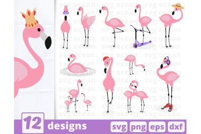 Flamingo SVG bundle | Pink flamingos | Couple | Silhouette | Crown
