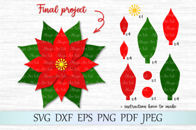 Poinsettia svg, Christmas svg, Christmas poinsettia svg, Poinsettia
