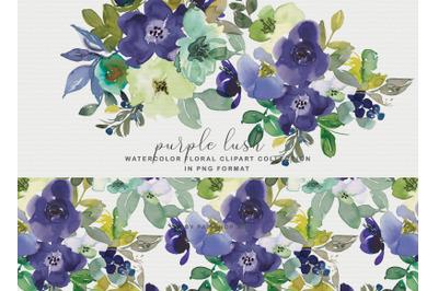 Purple Watercolor Floral Clipart Collection