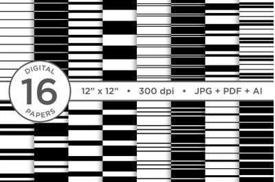 Black & White Seamless Striped Digital Paper