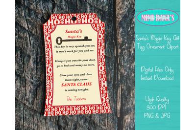 Santa's Magic Key Gift Tag Ornament Clipart
