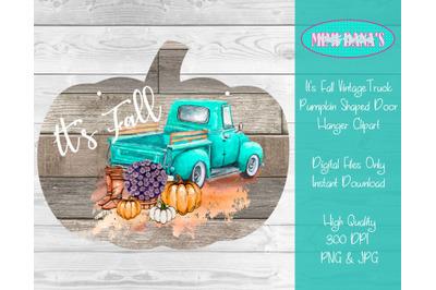 It's Fall Vintage Truck Pumpkin Shaped Door Hanger Clipart