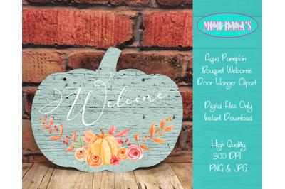 Welcome Pumpkin Bouquet Door Hanger Clipart
