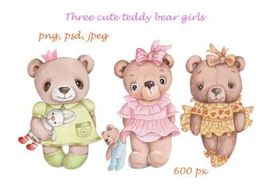 Three cute Teddy bear Girls