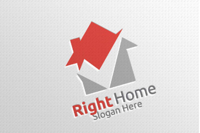 Real Estate Vector Logo Design with Home and Check Logo 6
