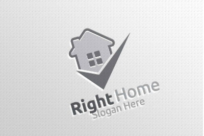 Real Estate Vector Logo Design with Home and Check Logo 8