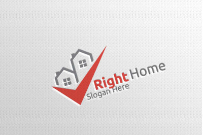 Real Estate Vector Logo Design with Home and Check Logo 9