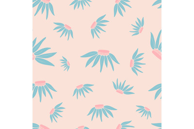 Pink daisy flowers seamless repeating pattern