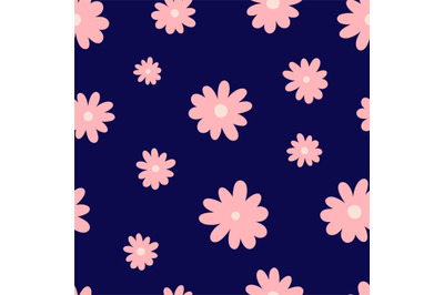 Pink flowers seamless repeating pattern