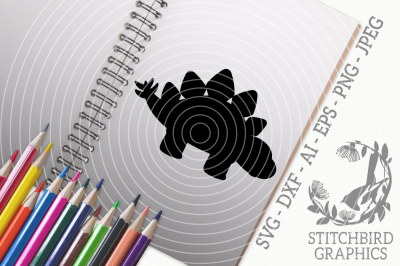 Stegosaurus Silhouette SVG, Silhouette Studio, Cricut, Eps, Dxf, AI