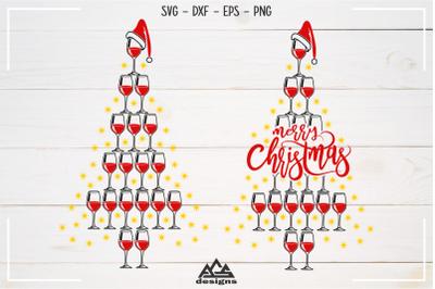 Wine glass Christmas Tree Svg Design