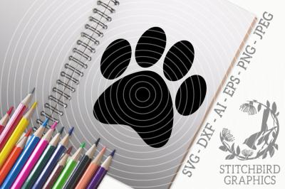 Paw Print SVG, Silhouette Studio, Cricut, Eps, Dxf, AI, PNG, JPEG